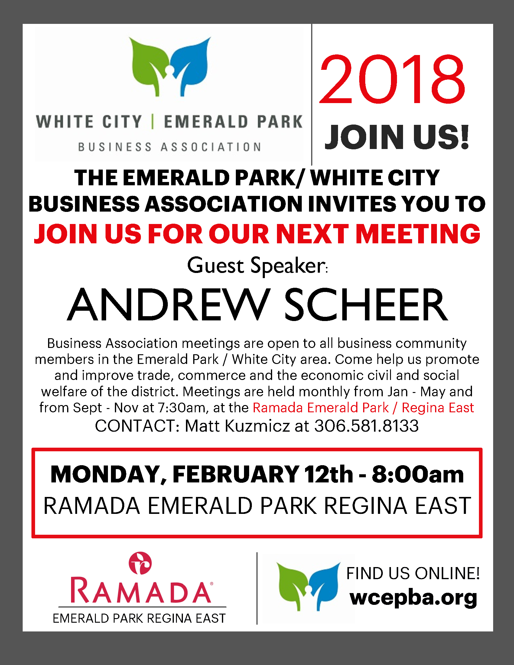 The Emerald Park/White City Business Association Meeting with Guest Speaker: Andrew Scheer