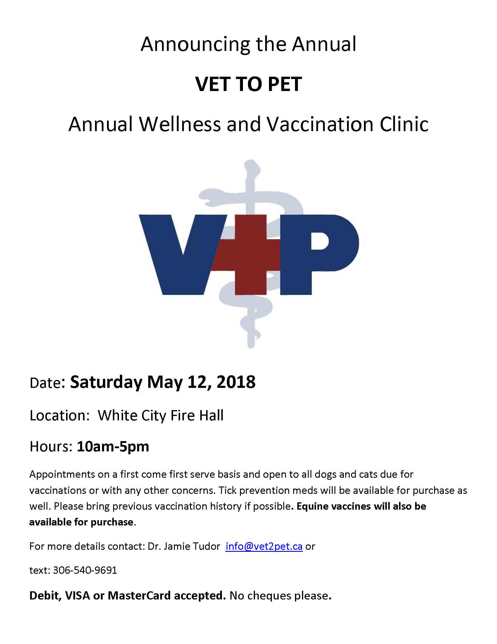 Vet to Pet Annual Wellness and Vaccination Clinic