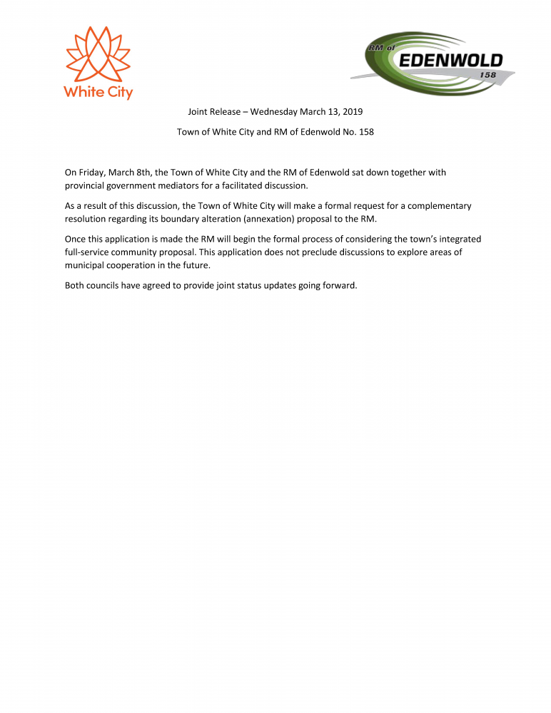 Joint Release - Town of White City and RM of Edenwold No. 158