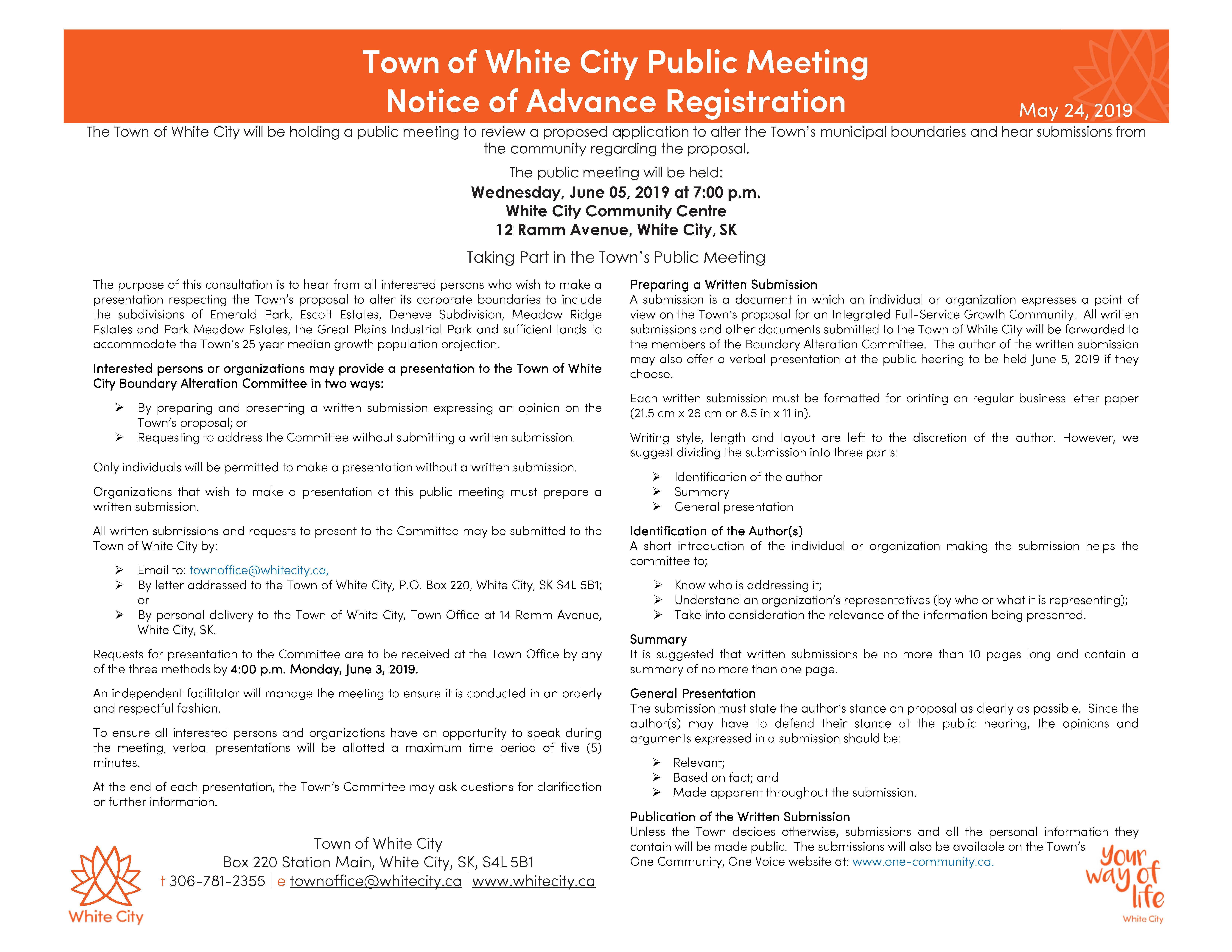 Notice of Advance Registration for Public Meeting on June 5, 2019 - Image 1