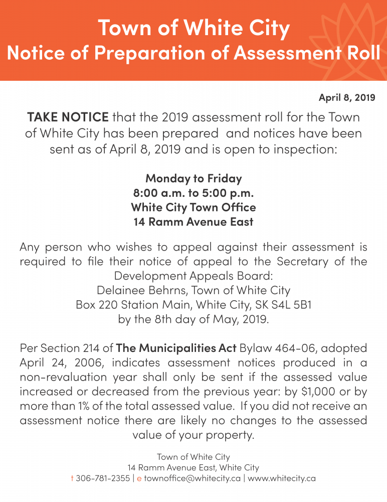 Notice of Preparation of Assessment Roll
