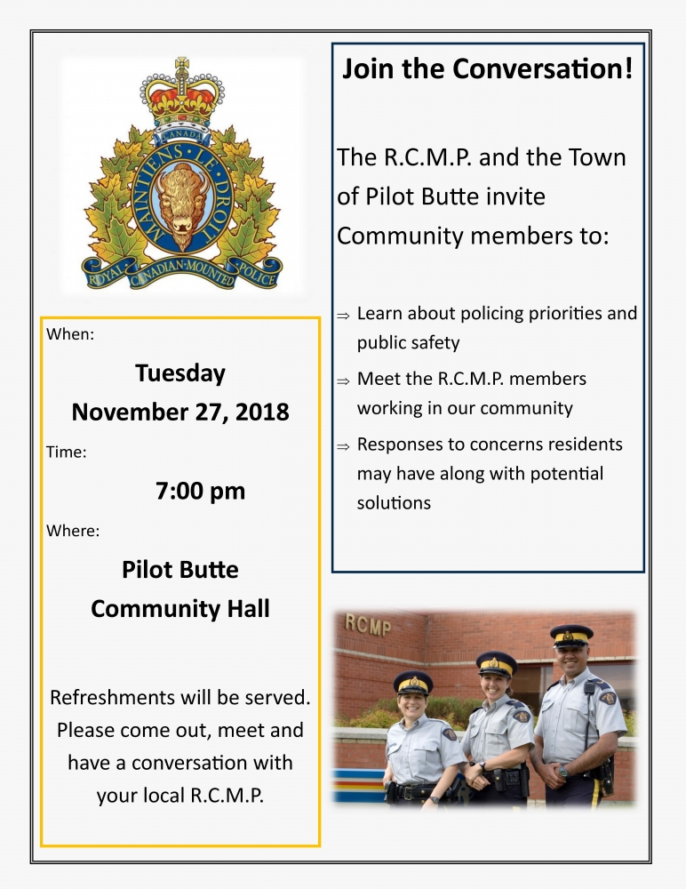 Town of Pilot Butte and White Butte RCMP Evening