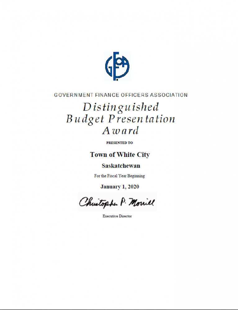 White City Receives Distinguished Budget Presentation Award 2020