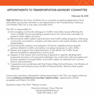 Appointments to Transportation Advisory Committee