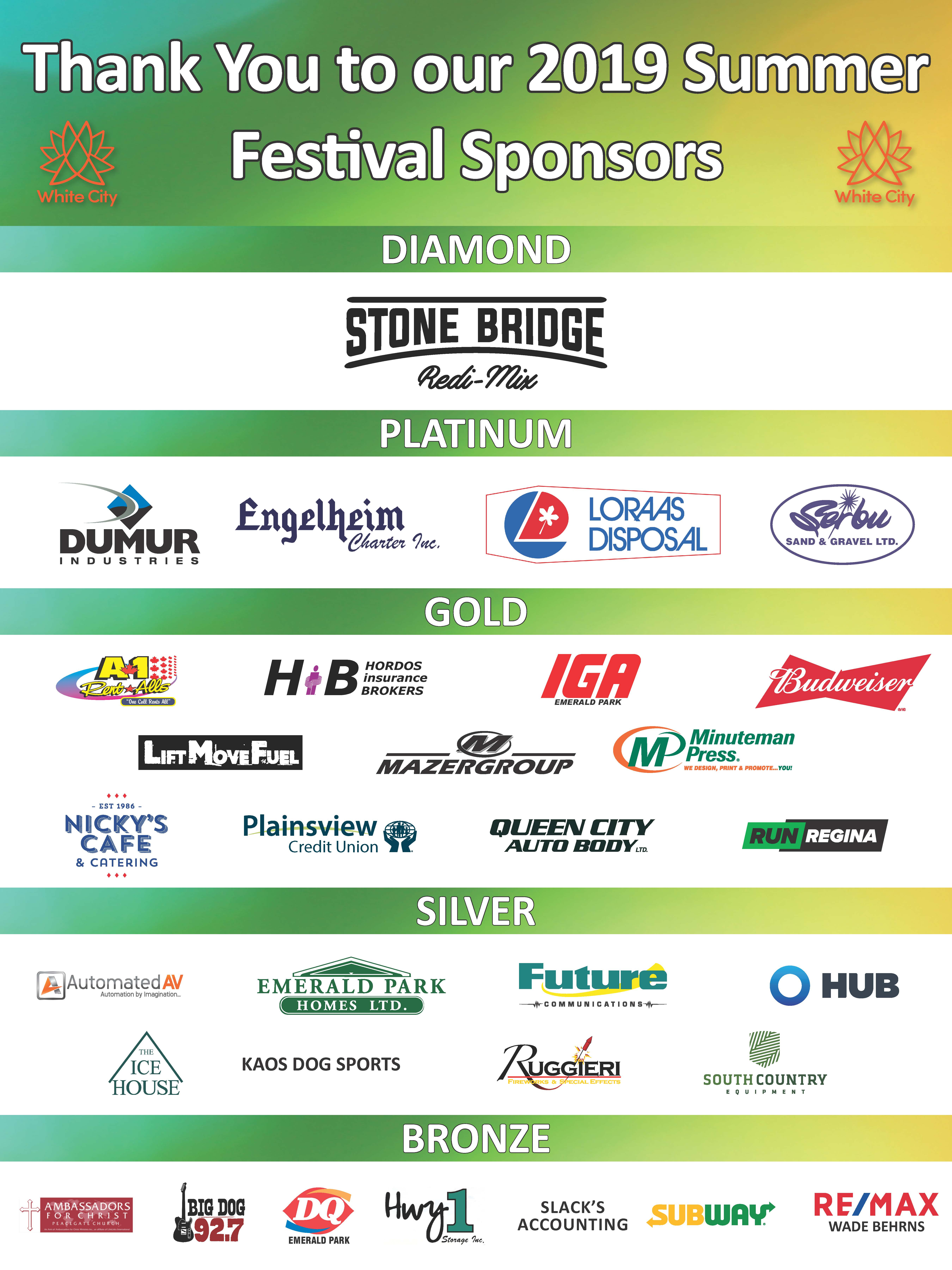 Thank you to Our Summer Festival Sponsors